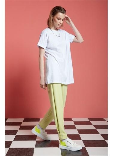 Mizalle Mizalle Basic Uzun T-Shirt,Byz,Xl Beyaz